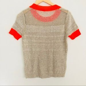 Moth Tops - Moth gray neon trimmed short sleeve knit